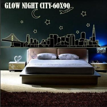 Glow Night City abq9601 Wallsticker ecer, grosir untuk dekor kamar, ruang tamu, kamar bayi. 085776500991-bu Eva